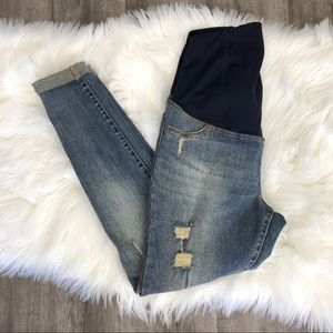 Isabel Maternity Distressed Cuffed Skinny Jeans